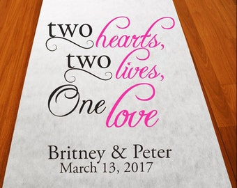 Two Hearts Two Lives Personalized Wedding Aisle Runner (MICPLHAR51)