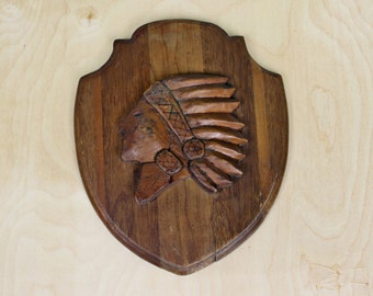 Vintage Wood Carved Native American in Feathered Headdress Plaque Folk Art
