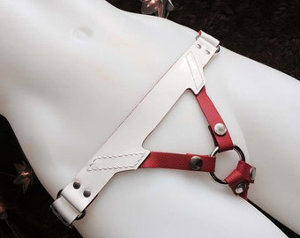Leather Strap on Harness - Saint - Red, White & Silver
