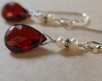 Garnet Earrings, Garnet and Pearl Earrings, Garnet Silver Earring, Garnet Dangle Earrings, Pearl Earrings, delicate sterling silver earrings