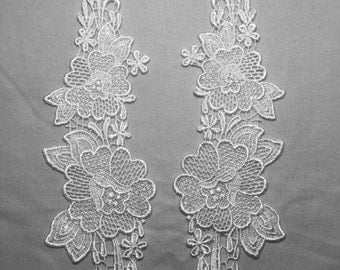 "Vintage White Bridal Venise Lace Applique set 10"" tall Sold by the set"