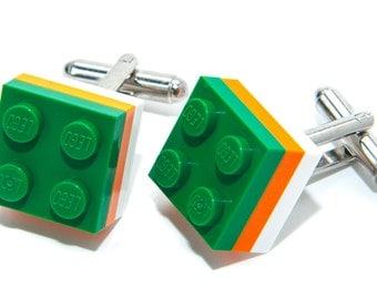 Ireland Lego Brick Cufflinks Wedding Cuff Link Gift Birthday With Gift Bag Flag