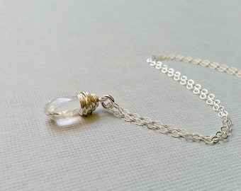 Crystal Necklace, sterling silver, April birthstone, wrapped crystal pendant, bride necklace, teardrop necklace, perfectly clear crystal