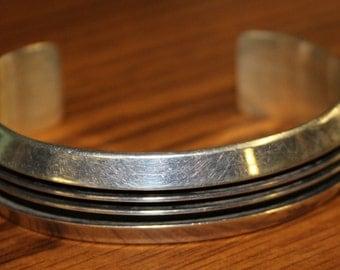 Tom Hawk Sterling Silver Ridged Cuff Bracelet  **39G**