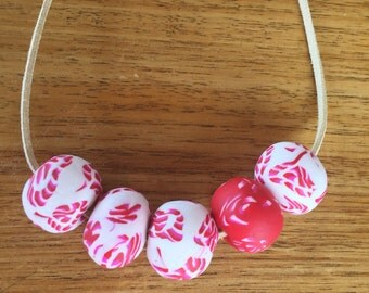 Red and White polymer clay necklace