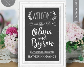 Rustic Wedding Welcome Sign DIY Print | Woodlands, Chalkboard, Boho | Black, Brown | Wedding Frame | Wedding Decoration | Sian Ashlee Design