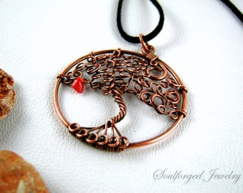 """Tree of life copper pendant - copper wire """"forbidden fruit"""" tree of life statement pendant with coral chip, handcrafted"""