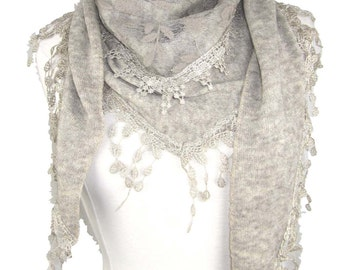 Knitted triangle scarf shawl wrap cape teardrop tassels and floral panel - beige