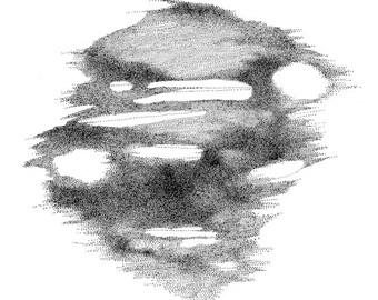 Abstract Stippling Art - Original pen & ink dots drawing, wall decoration