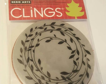 Wreath of leaves cling stamp from Hero Arts