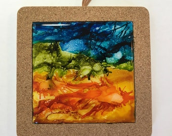 Abstract Art Ceramic Tile Wall Tile Drink Coasters Boho