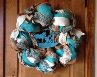 Cowboy Wreath, Deco Mesh Wreath, Door Wreath, Turquoise Wreath, Fall Wreath, Rodeo Wreath, Faith Wreath, Prayer Wreath