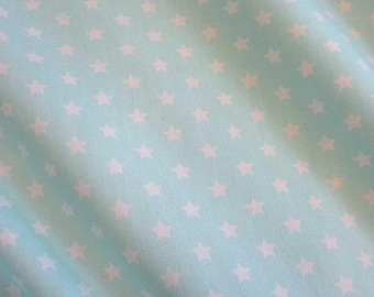 cotton fabric stars turquoise white 9mm