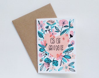 Be Mine Heart Candy Flower Small Card