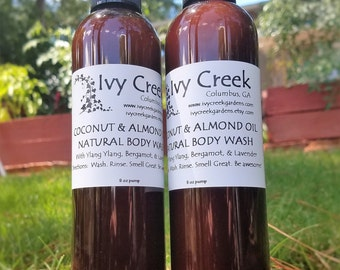 Natural Coconut & Almond Oil Body Wash with Ylang Ylang, Bergamot, and Lavender, Natural Body Wash, Holistic