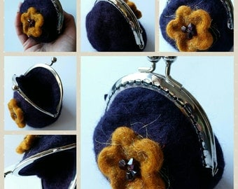 Deep purple felted coin purse, gold needle felted flower detail with crystals.