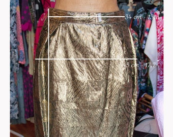 80 years Gold skirt-Vintage skirt 80s-Made in Italy
