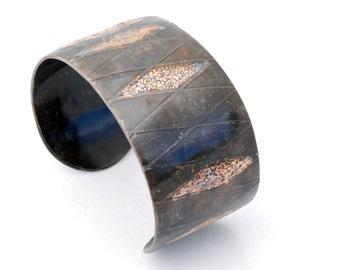 Harlequin Cuff - black and gold cuff, industrial look, one of a kind cuff