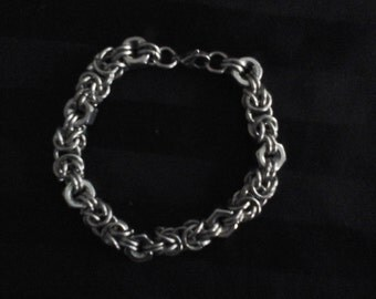 Stainless steel chain mail and hex nuts bracelet