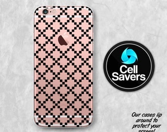 Black Checker Pattern Clear iPhone 7 Plus iPhone 6s iPhone 6 iPhone 6 Case iPhone 6s Plus iPhone 5c Case iPhone 5 SE Clear Case Cute Pattern