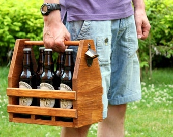 Wooden Beer Caddy, Wooden six pack beer carrier, Wooden Beer Carrier, Beer Bottle Opener, Birthday Gift, Fathers gift, Groomsmen gift