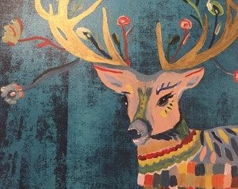 Flower Reindeer - Original Painting to Print, Home, Wall, Decor, Art, Gifts, Nursery
