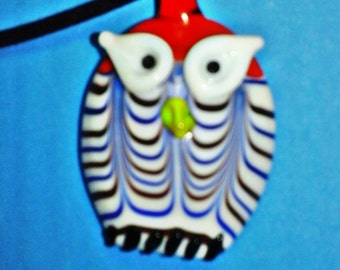 Whimsical Glass Owl Pendant