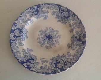 Antique flate plate vintage earthenware pottery blue
