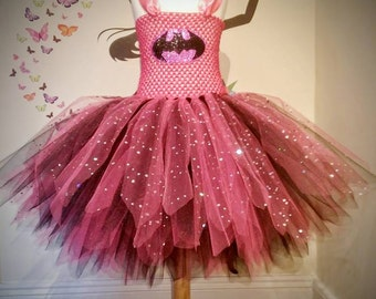 Superhero dress - Batman Tutu Dress - Birthday outfit -  Party dress - Tutu dress - Handmade Dress - Pink and Black Tutu - Party Outfit