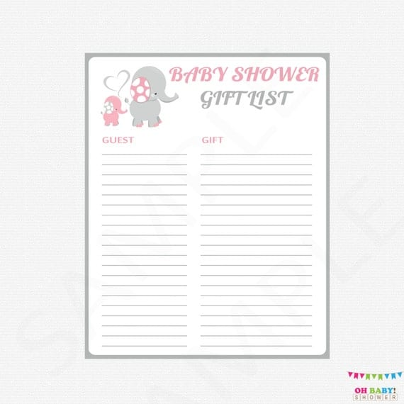 Adaptable image regarding baby shower gift list printable
