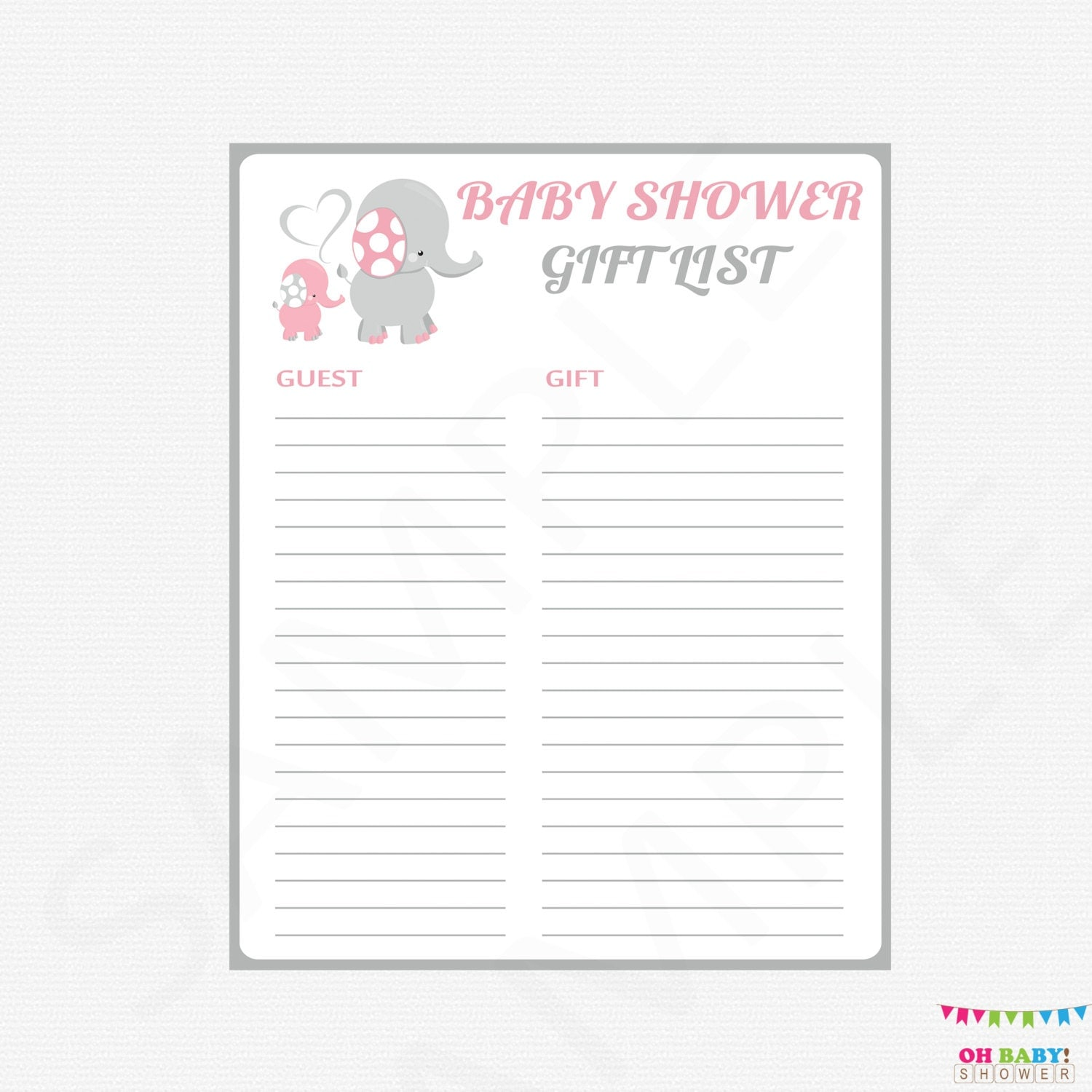 Bridal Shower Gift Record Template : Pink and Gray Baby Shower Gift List Elephant Baby Shower Gift
