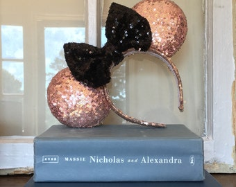 Sparkle Sequin Mickey Mouse Ears, Silver, Red, Gold, Black, White, Rose Gold or Mint Green