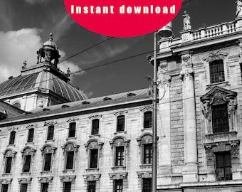 Instant download Photo Munich Bavaria Black & White digital download printable art.