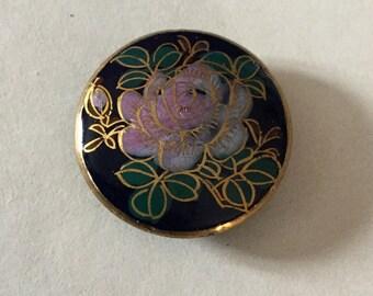 Satsuma Button Cobalt Blue Background Lavender Flower Medium Size