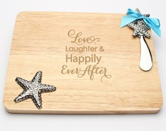 Love, Laughter and Happily Ever After - Engraved Beach Theme Cutting Board