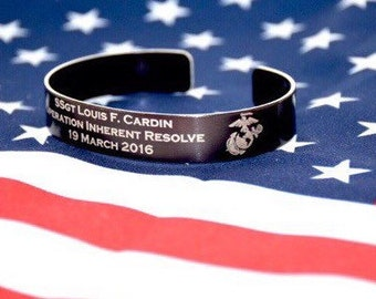 Memorial Bracelet / Honor the Fallen /  POW / Military Bracelets / KIA Bracelet / USMC / Navy / Army/ Air Force / Navy Seal / Veteran