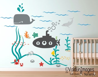 Submarine ocean nursery wall decal, kids wall decal, nursery decals, sea wall decal, nautical wall decal, nursery decor, underwater decal