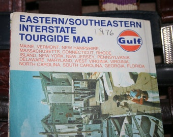 1976 Eastern, Southeastern Interstate Tourgide Map by Rand McNally Co. and sponsored by Gulf  Oil Company , Map for Crafting