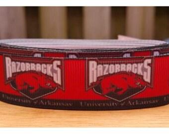 "Arkansas Razorbacks Ribbon, 7/8"" Ribbon,  DIY Hairbows, Grosgrain Craft Ribbon, Sports Ribbon (R-014)"