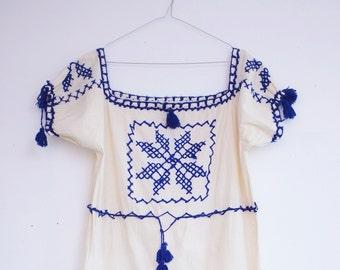 Vintage hippie folk bohemian summer dress S/M