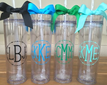 Monogram Cup, Personalized Monogram Tumbler, Monogram Tumbler, Skinny Tumbler, Arrow Monogram Tumbler, Personalized Drinking Cup, Bridesmaid