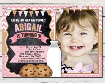 Cookies and Milk Girl Printable Birthday Photo Invitation - DIY - PDF & JPG Files only