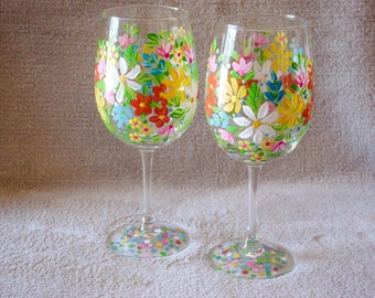Pair of Floral Hand Painted Wine Glasses. Colorful Wine Glasses.  Spring Bouquet Wine Glasses.
