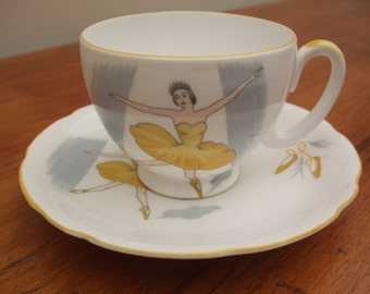 Gorgeous Royal Stafford 'Ballet' pattern bone china coffee cup and saucer - Yellow