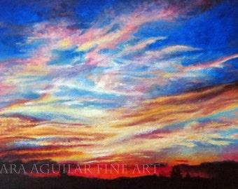 Oil Painting Art Print, Sunset Art, Montana Art, Sunset Painting Print, Sky Painting, Cloud Art, Wall Art, Home Decor, Colorful Art Print