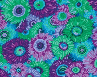 Philip Jacobs Spring 2016 Zany - blue, purple, flowers, spots, circles, quilt, turquoise, cotton, fabric, by the, yard, metre, PWPJ079.PURPL
