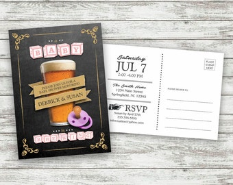 Beer Baby Shower Postcard Invite / Baby Brewing Shower Invitation / Baby Brewing / Chalkboard Invite / Coed Baby Shower Postcard - PRINTABLE