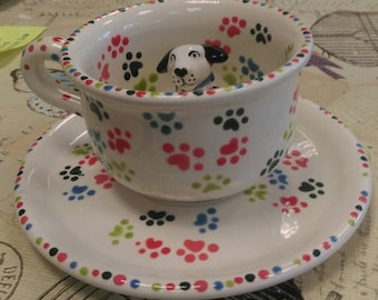 Hand Painted Personalised Dog Lovers Ceramic Cup and Saucer Pawprints on our Hearts Birthday Anniversary Thank you Gift Present