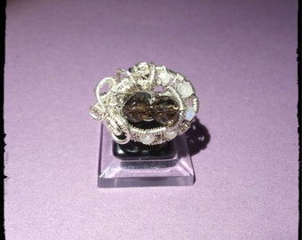 Ring in Silver 925 with smoky quartz and Moonstone