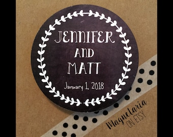 Black & White Wreath Save the Date Magnets, 2.25 inches round